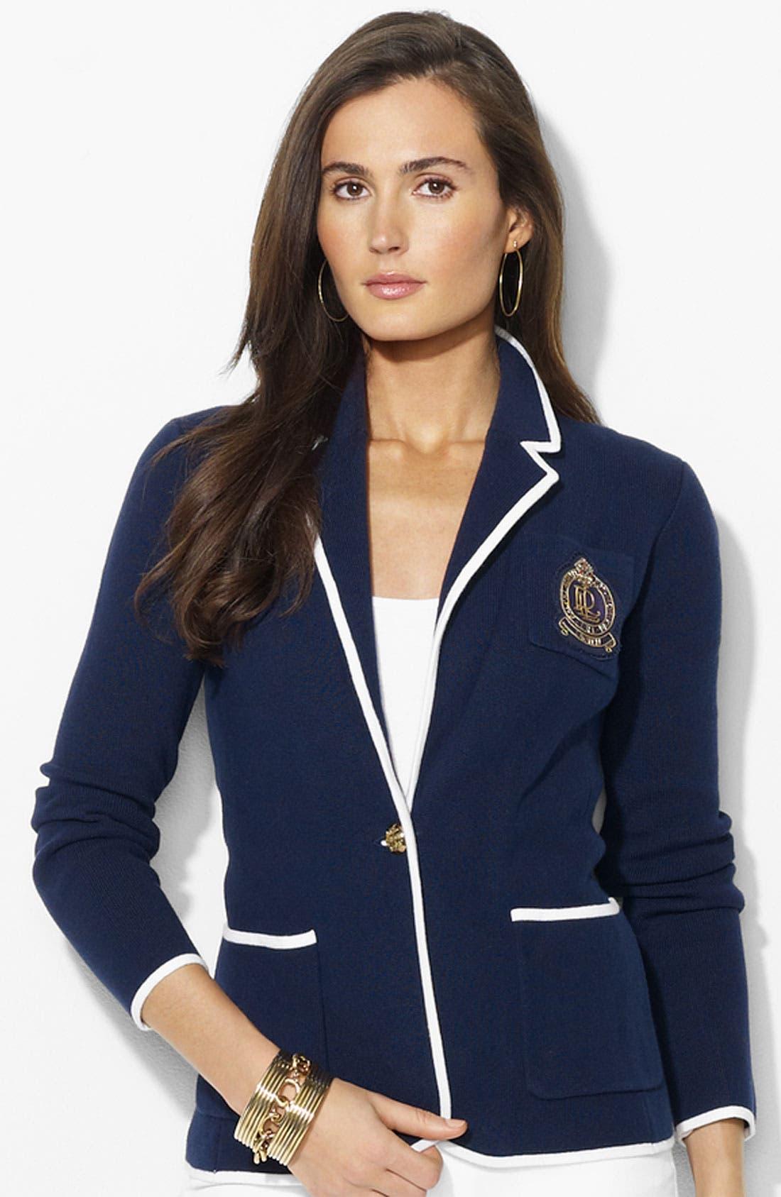 Main Image - Lauren Ralph Lauren Crest Pocket Blazer (Petite) (Online Exclusive)