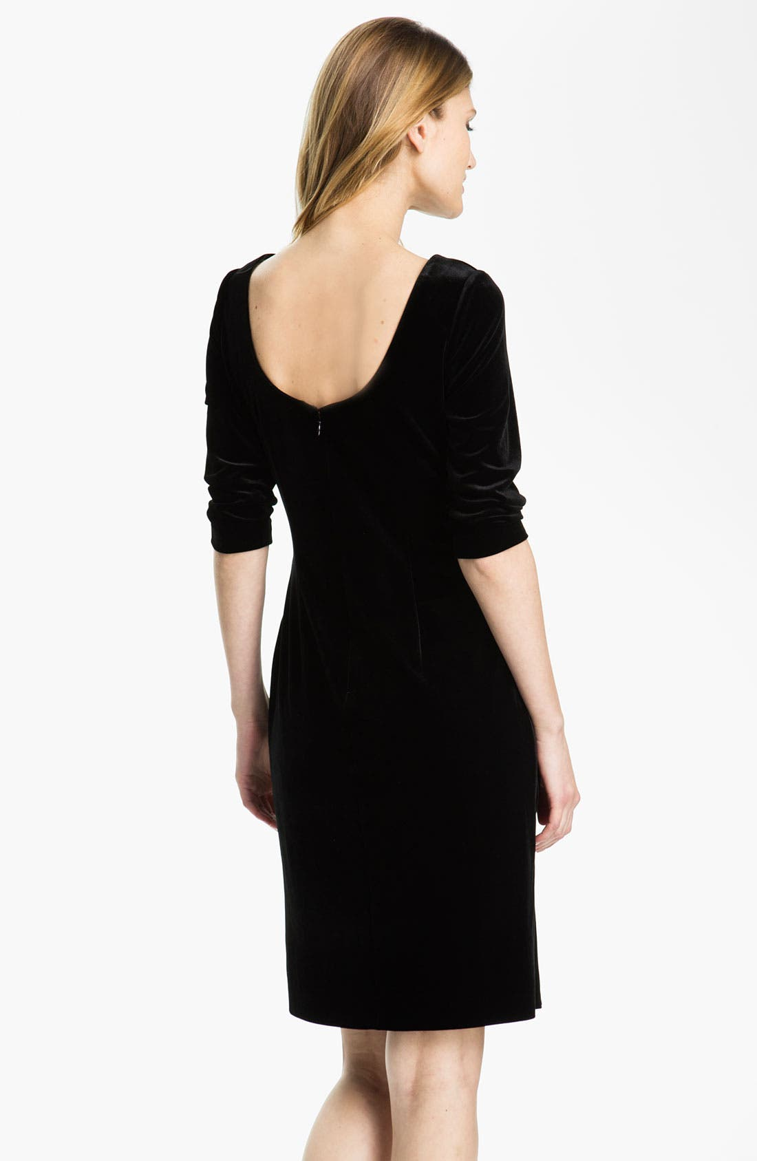 Alternate Image 2  - Alex Evenings Scoop Back Draped Velvet Dress (Petite)