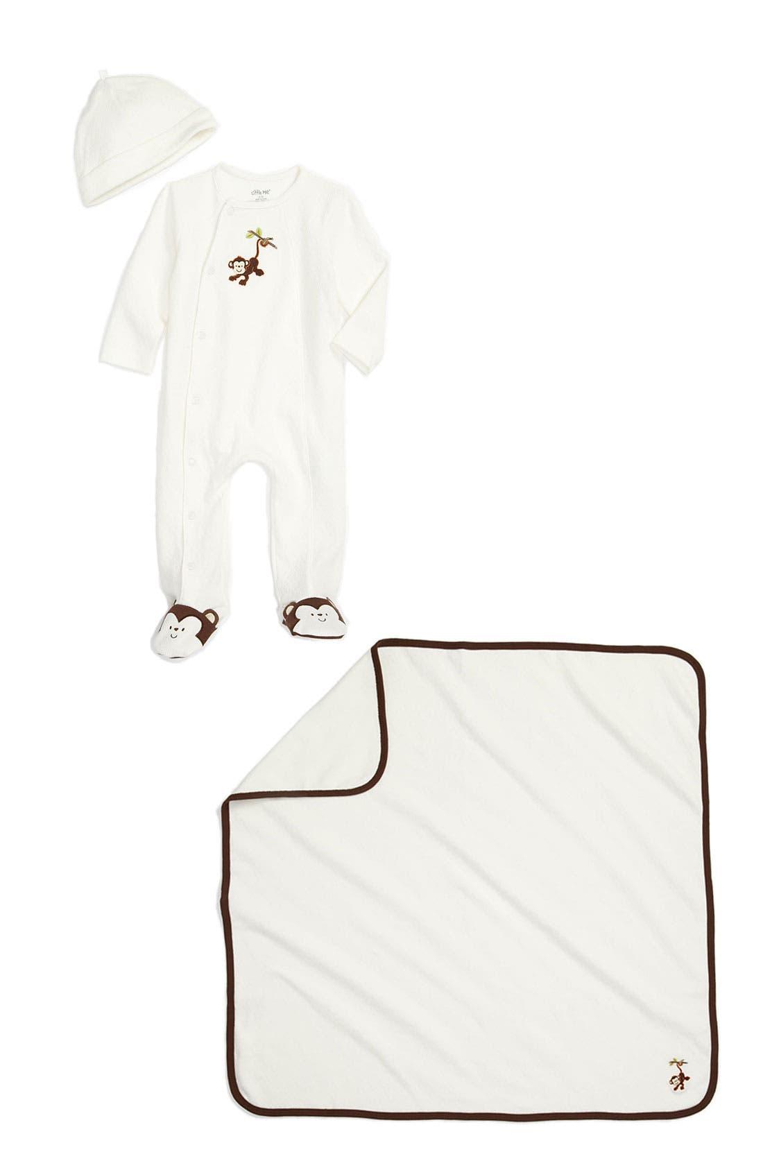 Main Image - Little Me Footie, Hat & Blanket (Infant)