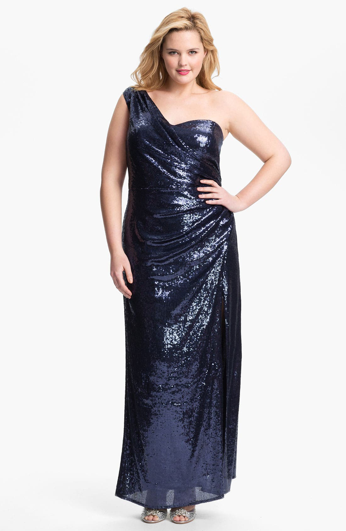 Main Image - Xscape Sequin One Shoulder Gown (Plus Size) (Online Only)