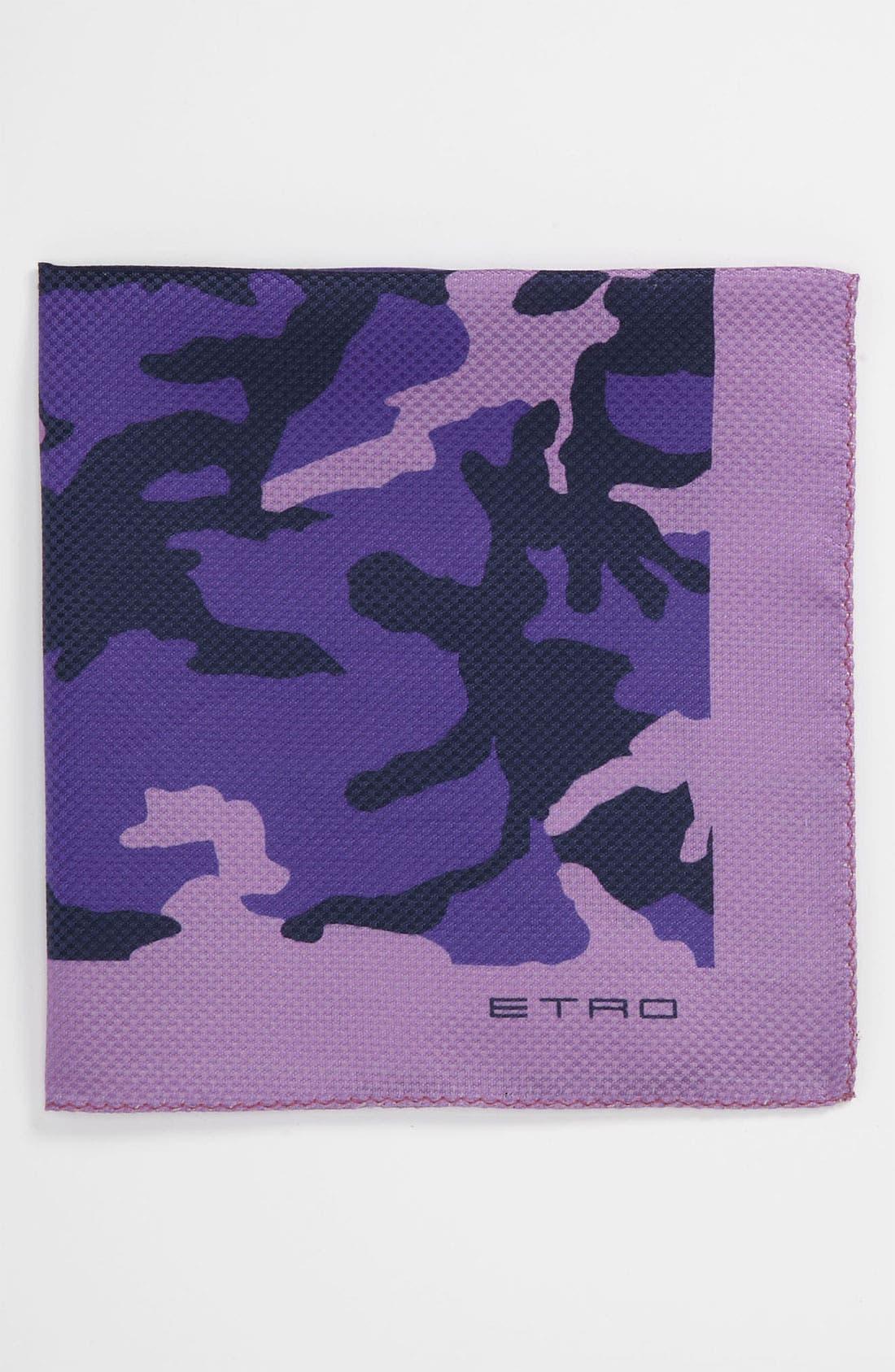 Alternate Image 1 Selected - Etro Camo Silk & Cotton Pocket Square