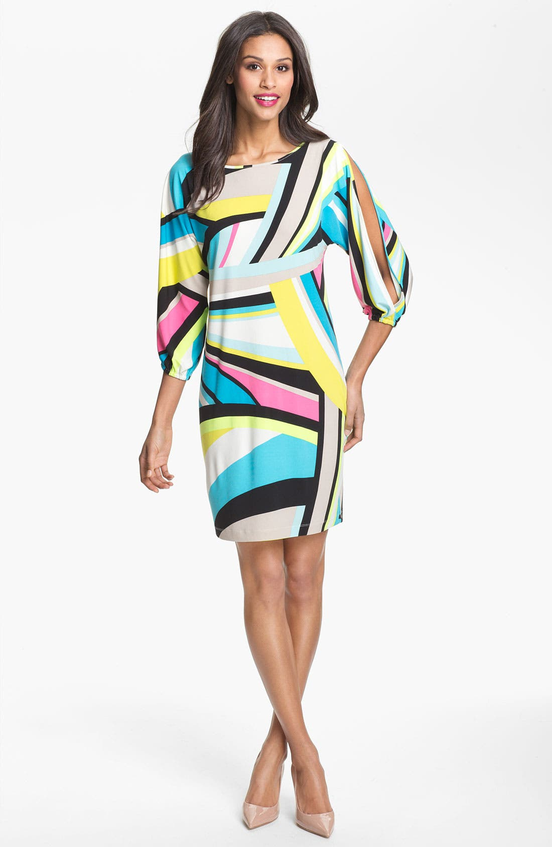 Alternate Image 1 Selected - Calvin Klein Cold Shoulder Print Shift Dress