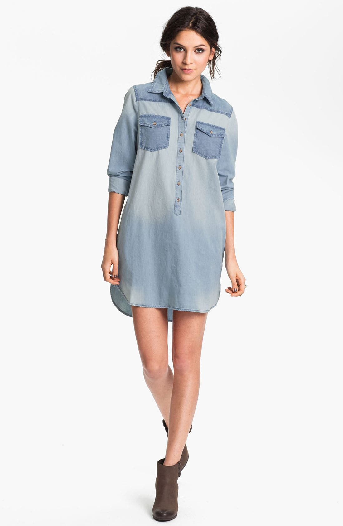 Alternate Image 1 Selected - Rubbish® Oversized Denim Shirtdress (Juniors)