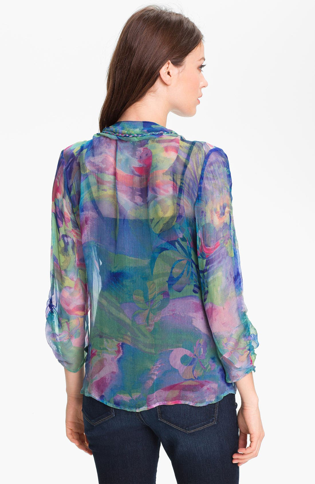 Alternate Image 2  - Casual Studio Pleat Front Sheer Print Blouse