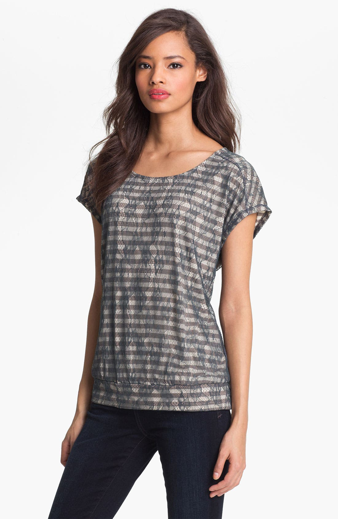 Alternate Image 1 Selected - Pleione Lace Overlay Stripe Tee