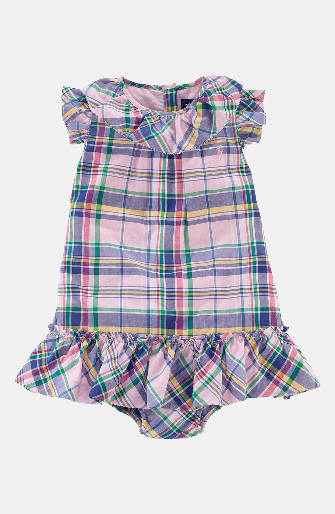 Main Image - Ralph Lauren Madras Plaid Dress (Baby)
