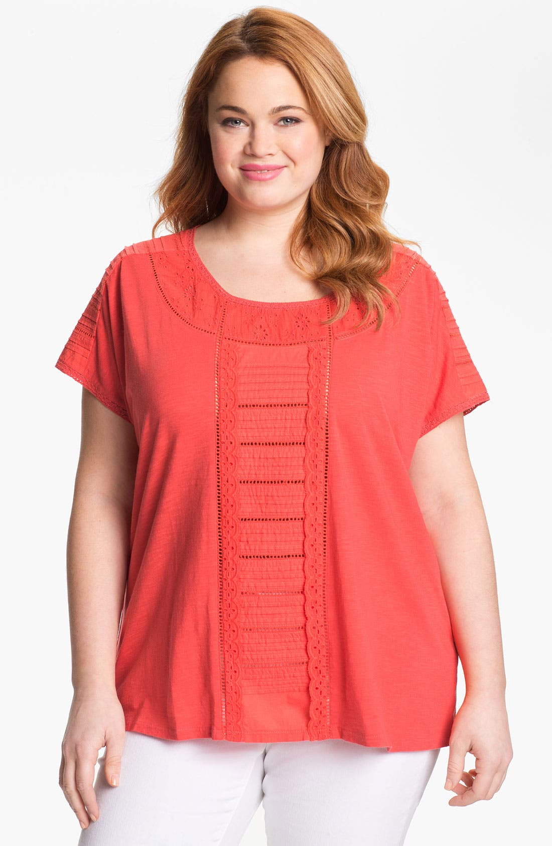Main Image - Lucky Brand 'Alice' Cutout Cotton Top (Plus Size)