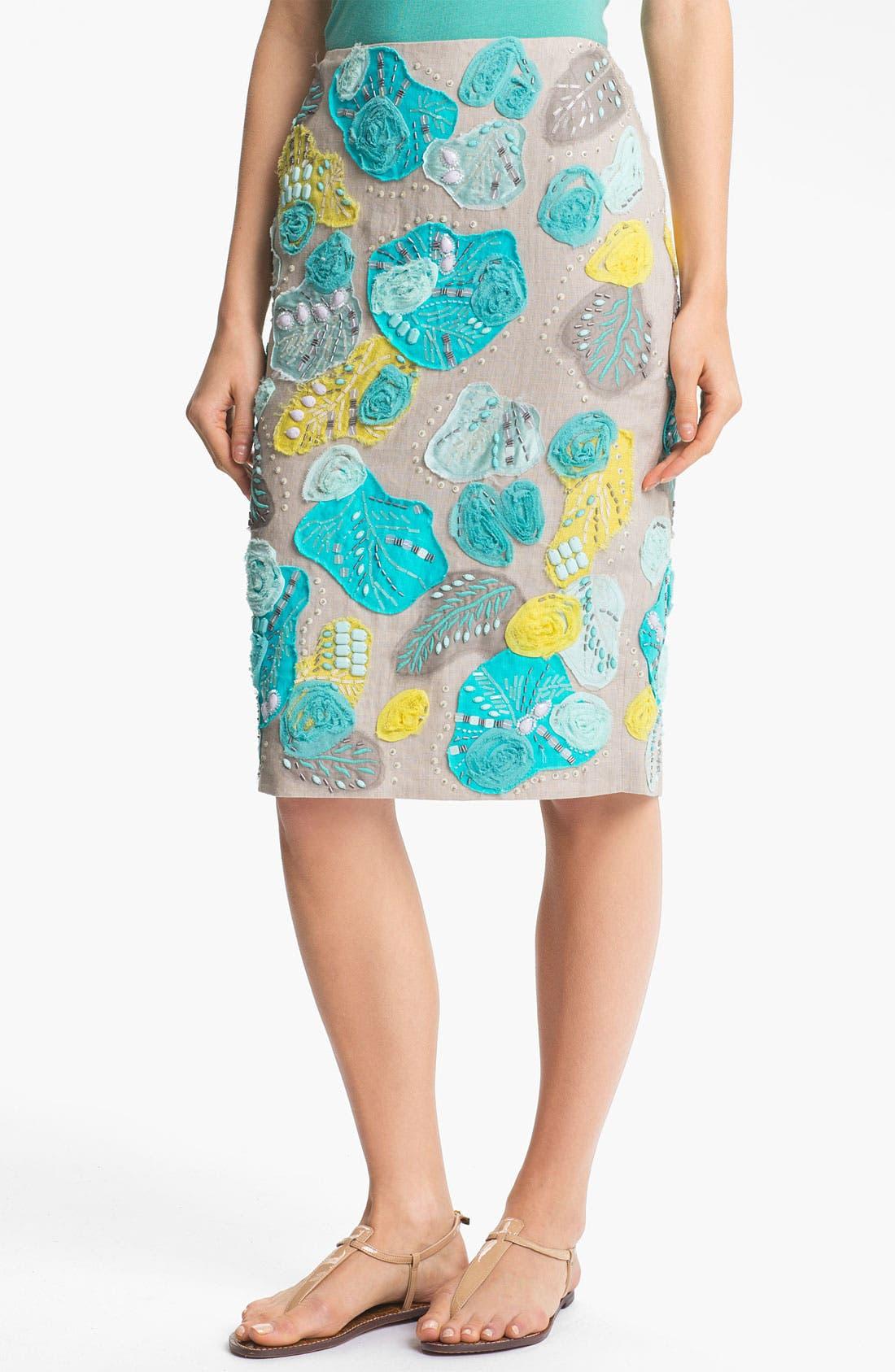 Alternate Image 1 Selected - Lafayette 148 New York Embellished Linen Skirt