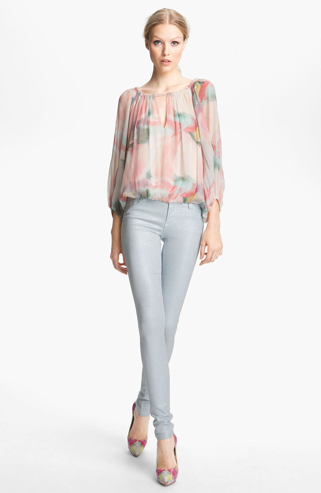 Alternate Image 2  - Alice + Olivia Floral Print Silk Top