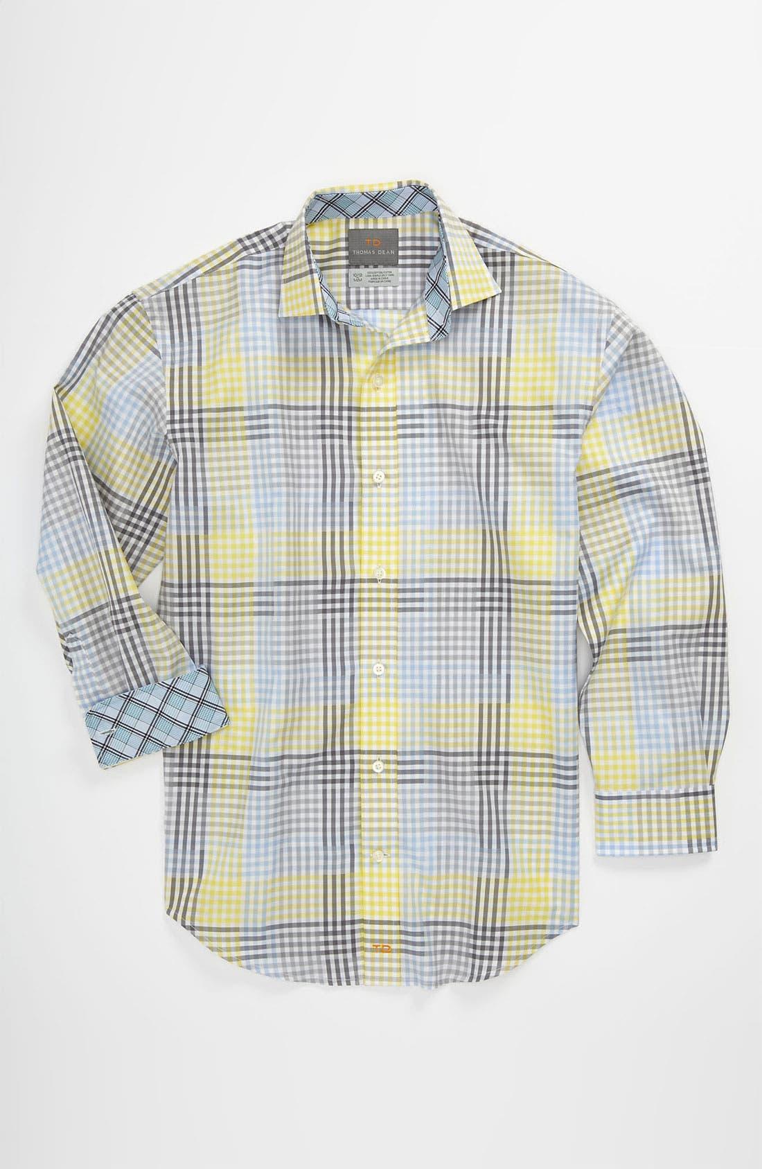 Main Image - Thomas Dean Plaid Dress Shirt (Big Boys)