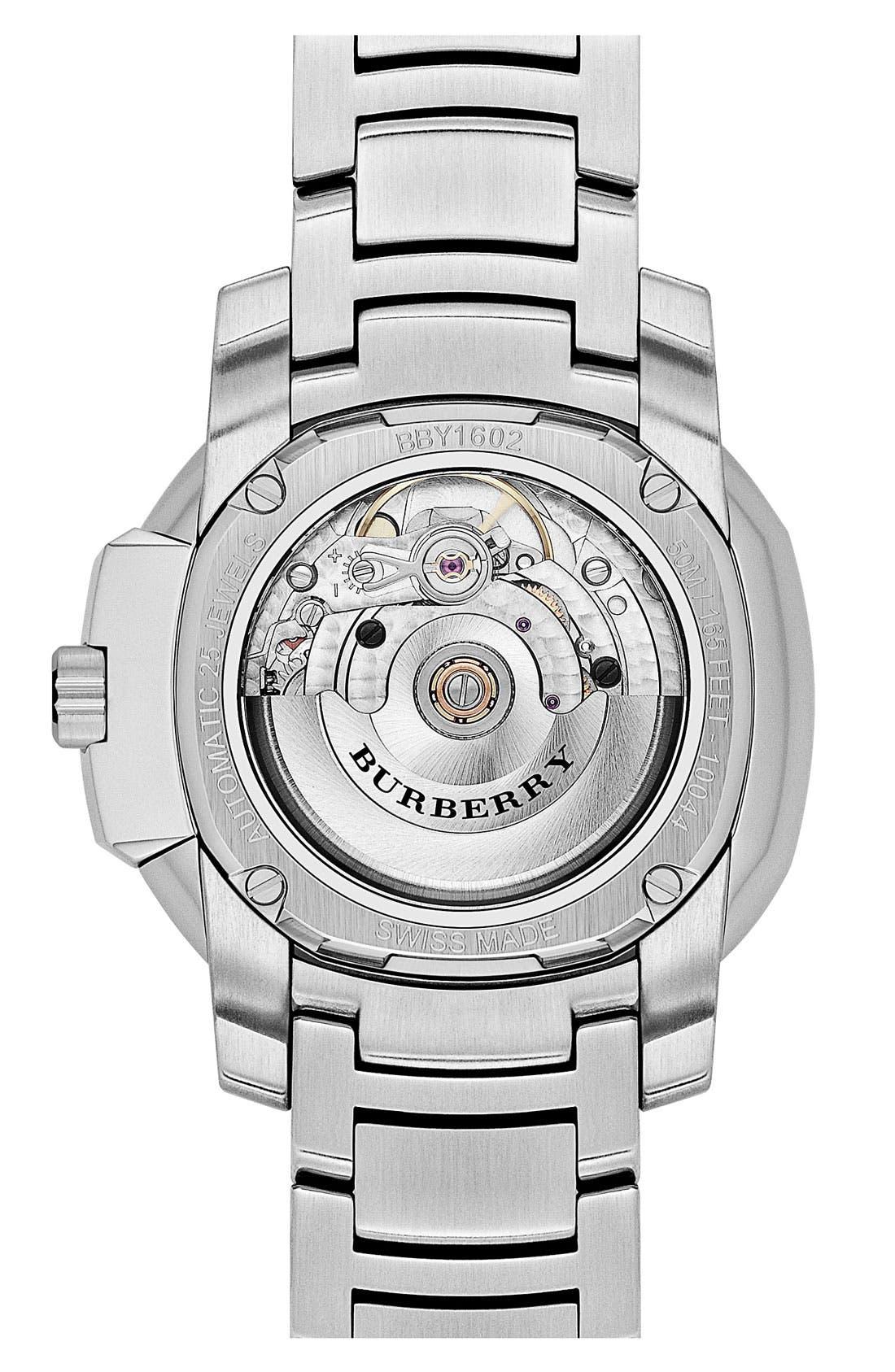 Alternate Image 2  - Burberry The Britain Automatic Bracelet Watch, 38mm