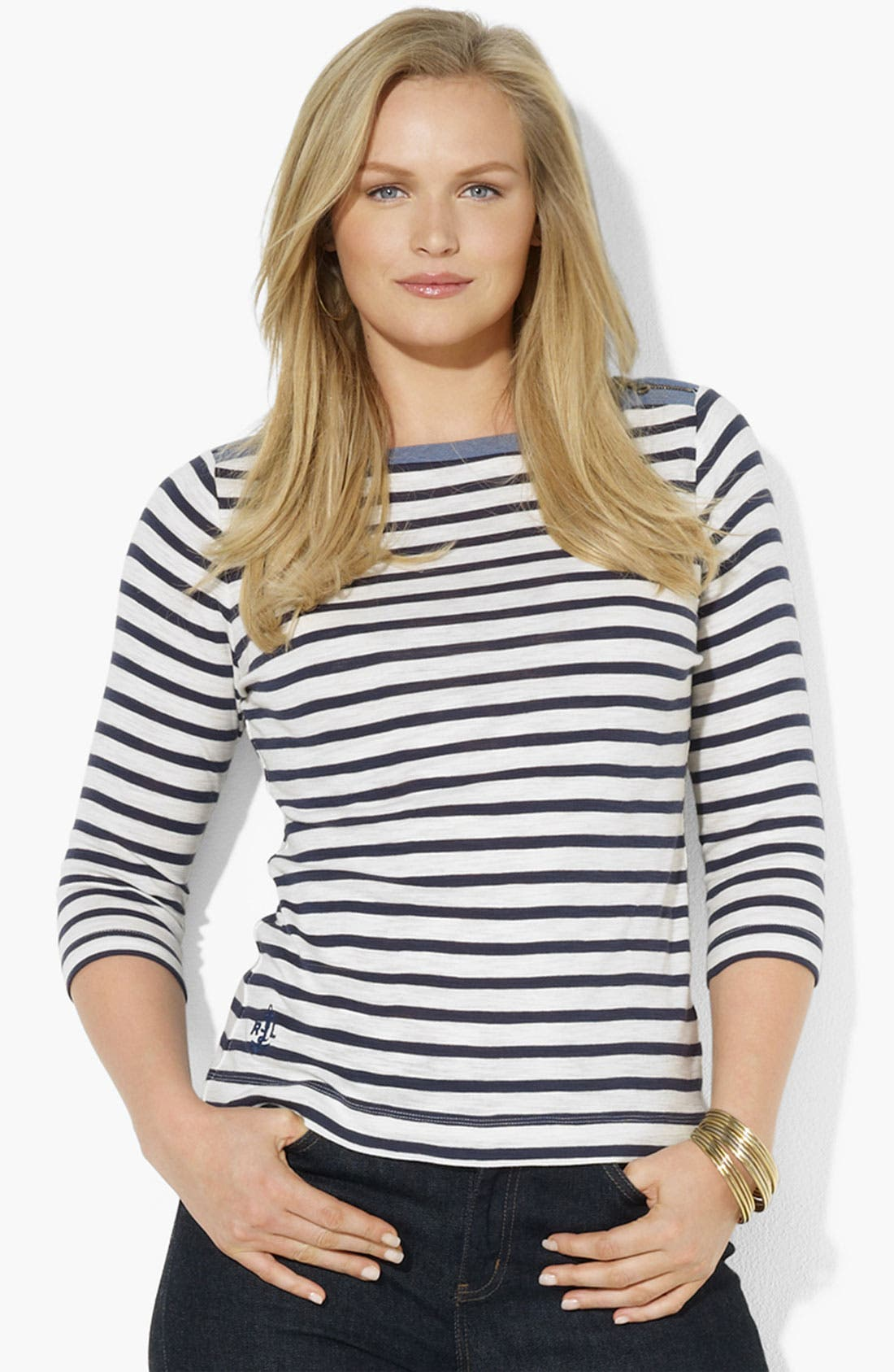 Alternate Image 1 Selected - Lauren Ralph Lauren Zip Shoulder Stripe Tee (Plus)