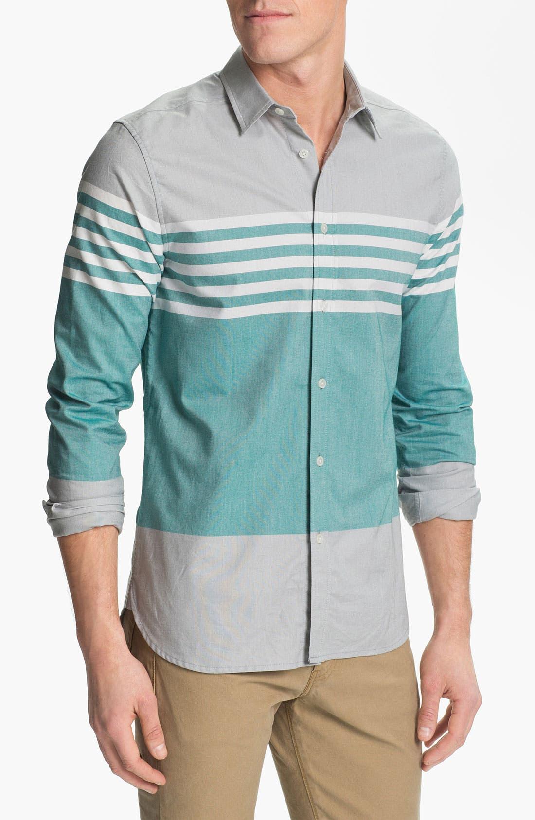 Alternate Image 1 Selected - Edun Colorblock Stripe Woven Shirt