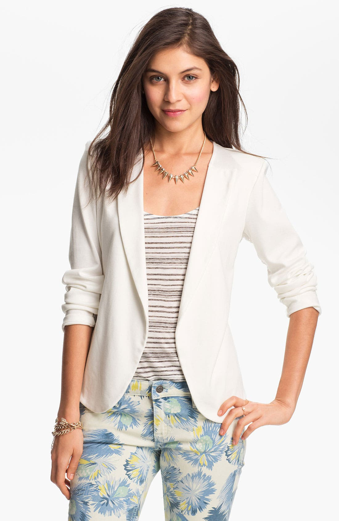 Alternate Image 2  - h.i.p. Lace Back Blazer (Juniors)