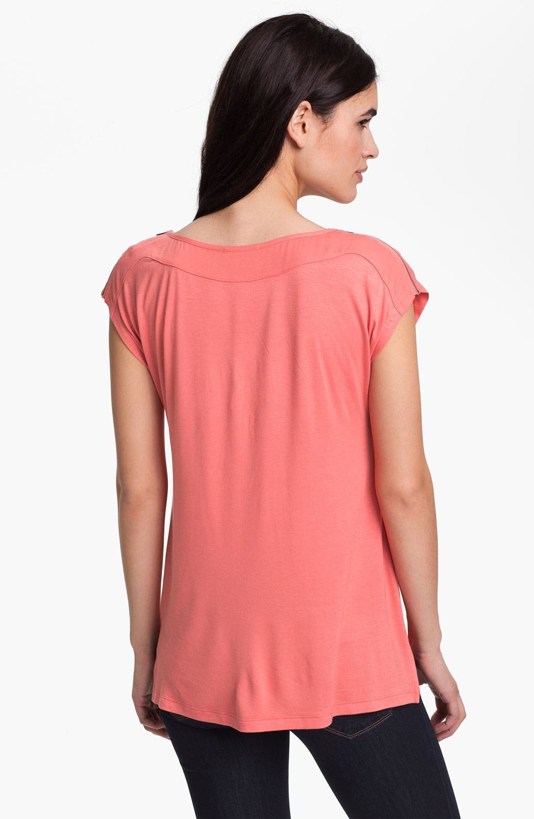 Alternate Image 2  - Pleione Zip Shoulder Cap Sleeve Top