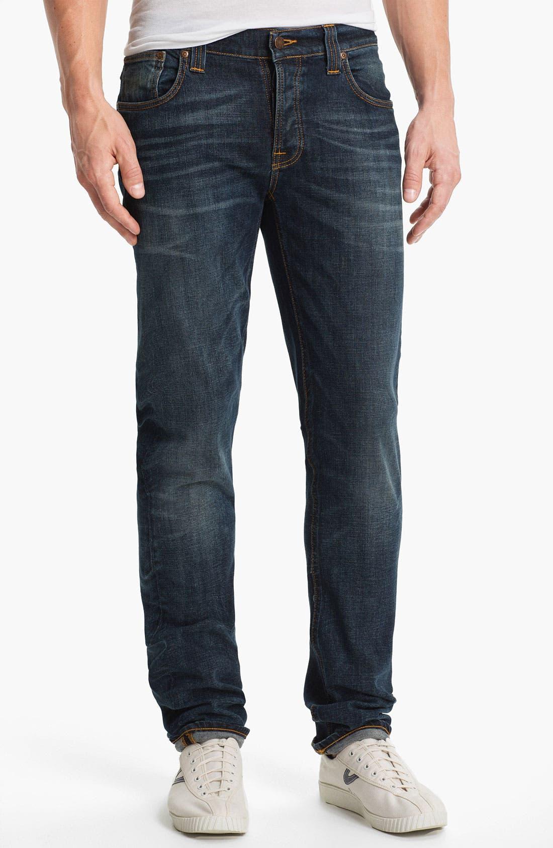 Alternate Image 2  - Nudie 'Grim Tim' Skinny Straight Leg Jeans (Organic Crushed Denim)