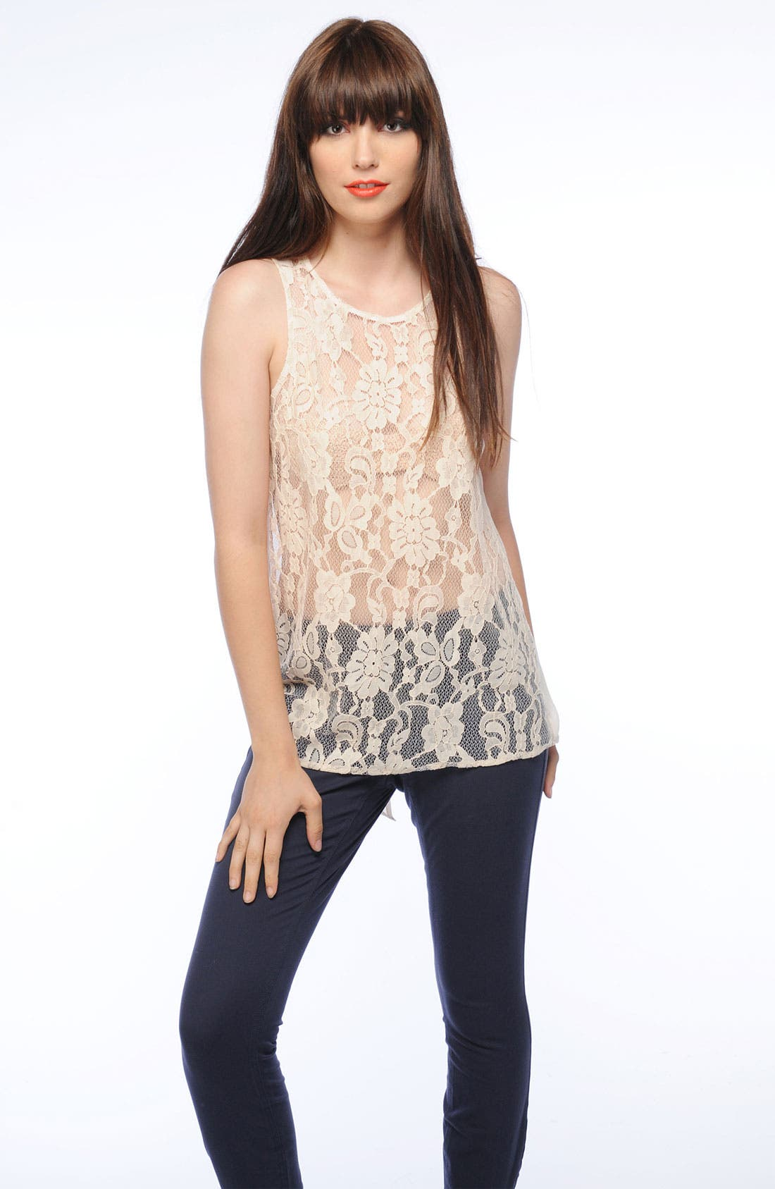 Alternate Image 2  - BB Dakota Lace Front High/Low Top