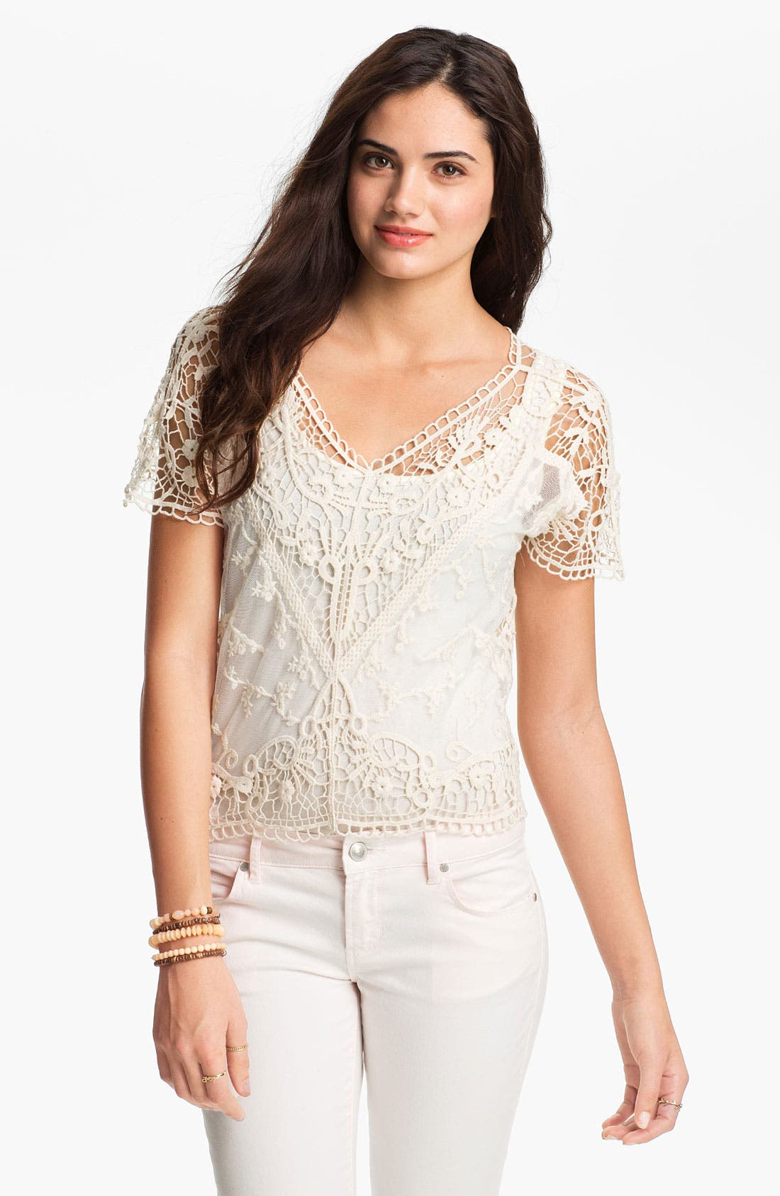 Alternate Image 1 Selected - Absolutely Cotton Crochet Lace Top (Juniors)