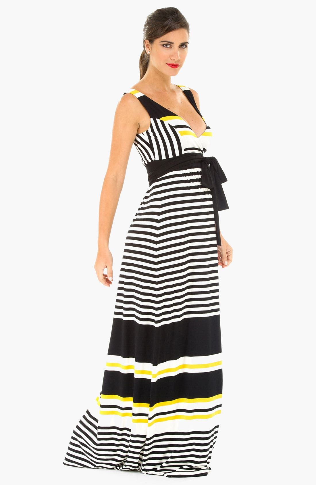 Alternate Image 2  - Olian Kimono Stripe Maternity Dress