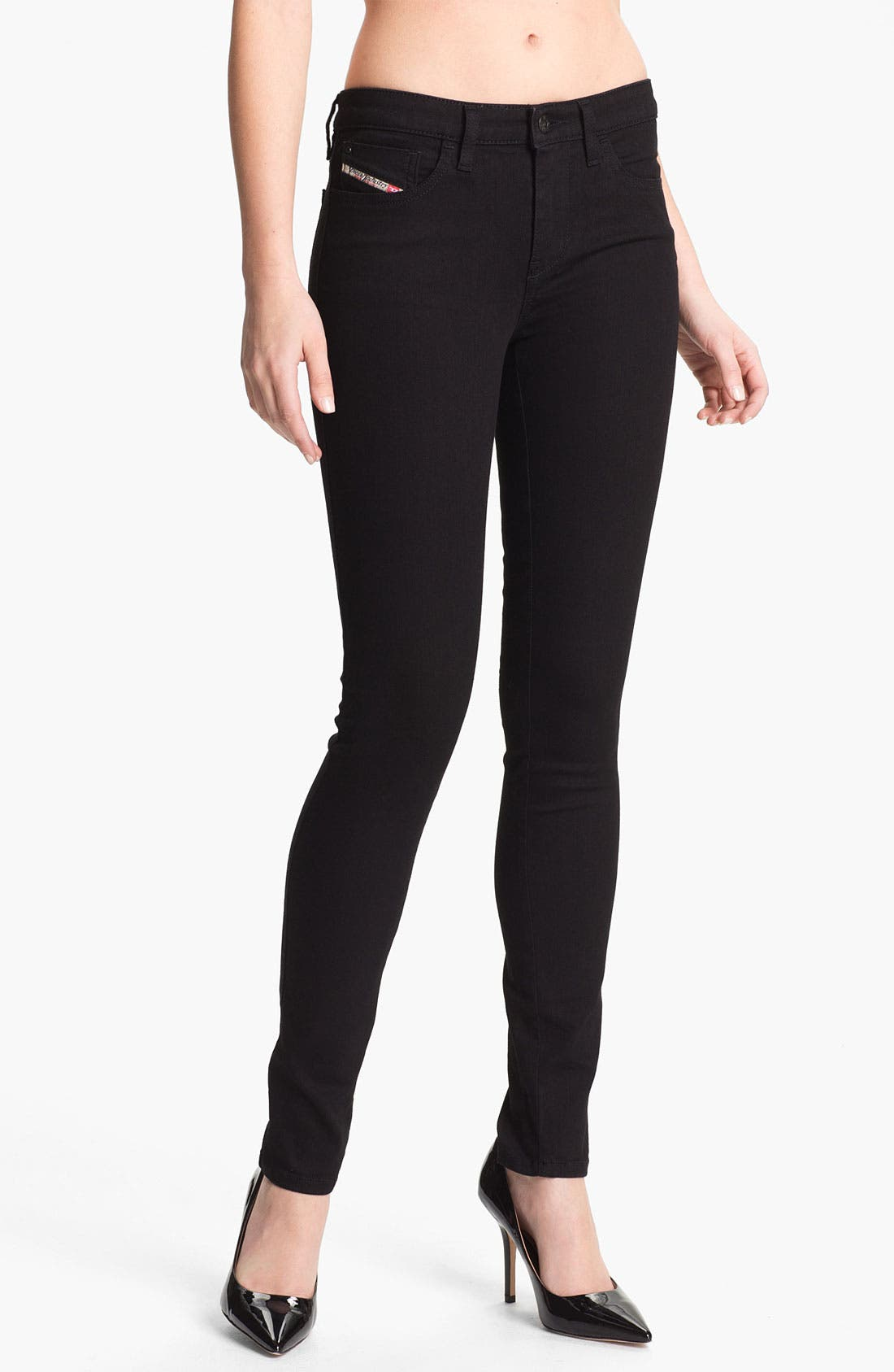 Alternate Image 1 Selected - DIESEL® 'Skinzee' Stretch Skinny Jeans (Black)