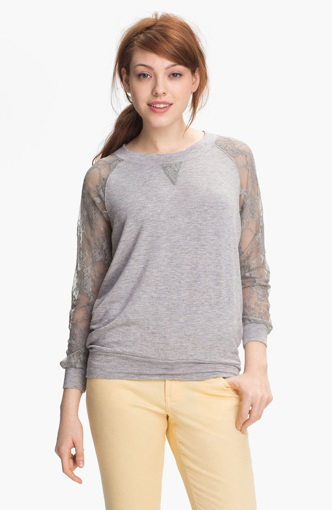 Alternate Image 1 Selected - Cielo Lace Sleeve Sweatshirt