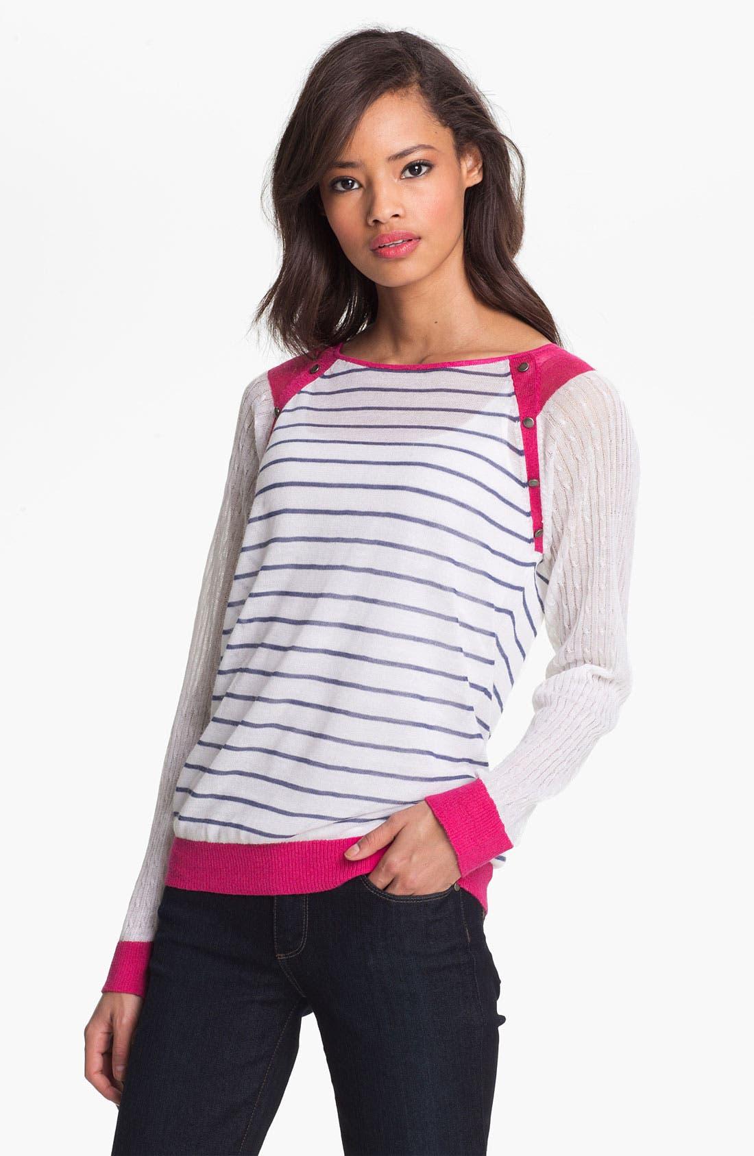 Alternate Image 1 Selected - Shirt 469 Colorblock Stripe Sweater (Petite)