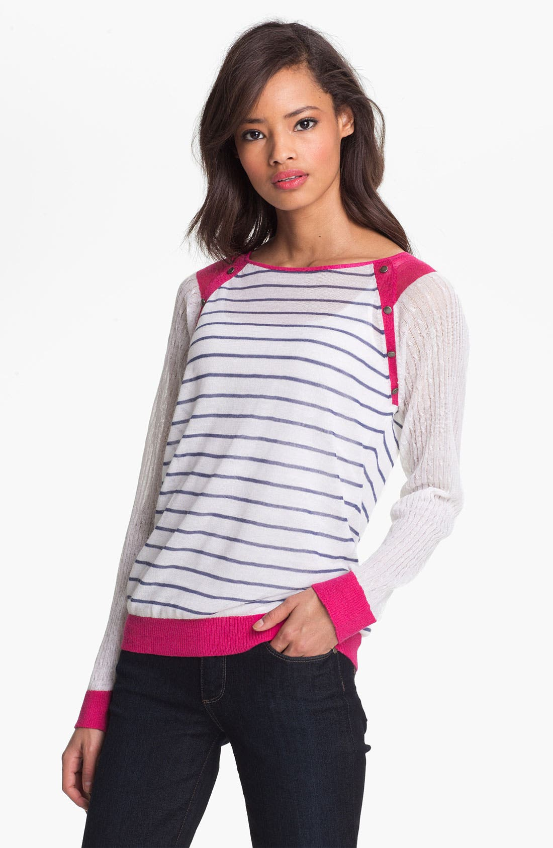 Main Image - Shirt 469 Colorblock Stripe Sweater (Petite)