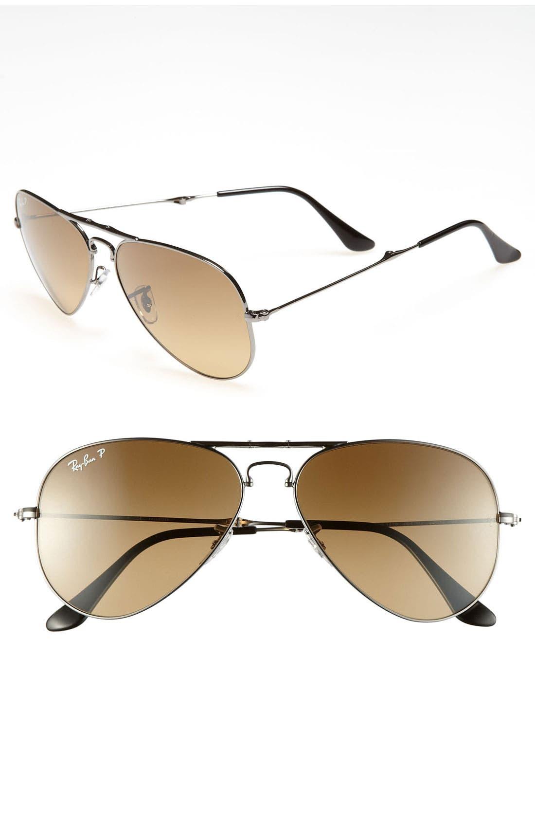 Alternate Image 1 Selected - Ray-Ban 58mm Polarized Folding Aviator Sunglasses