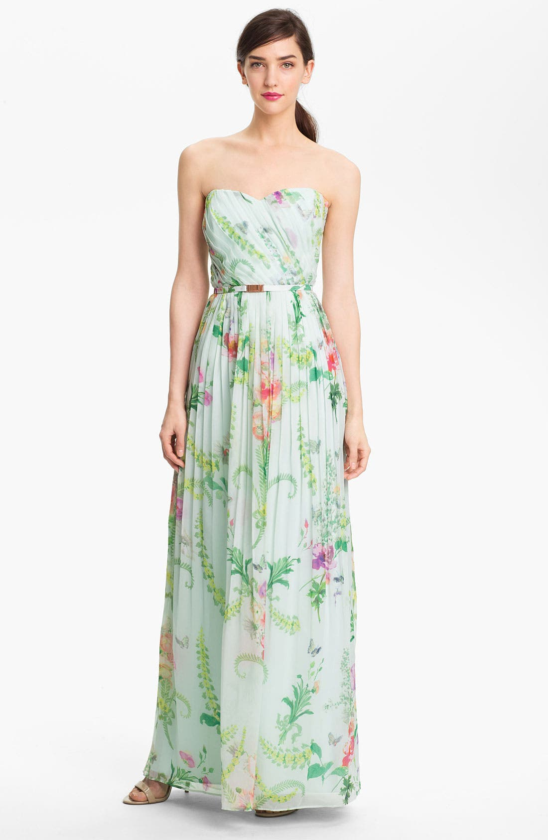 Main Image - Ted Baker London 'Wallpaper' Pleated Maxi Dress (Online Only)