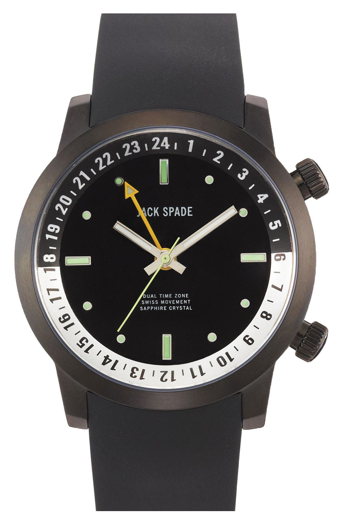 Main Image - Jack Spade 'Cortlandt' Dual Time Rubber Strap Watch, 43mm