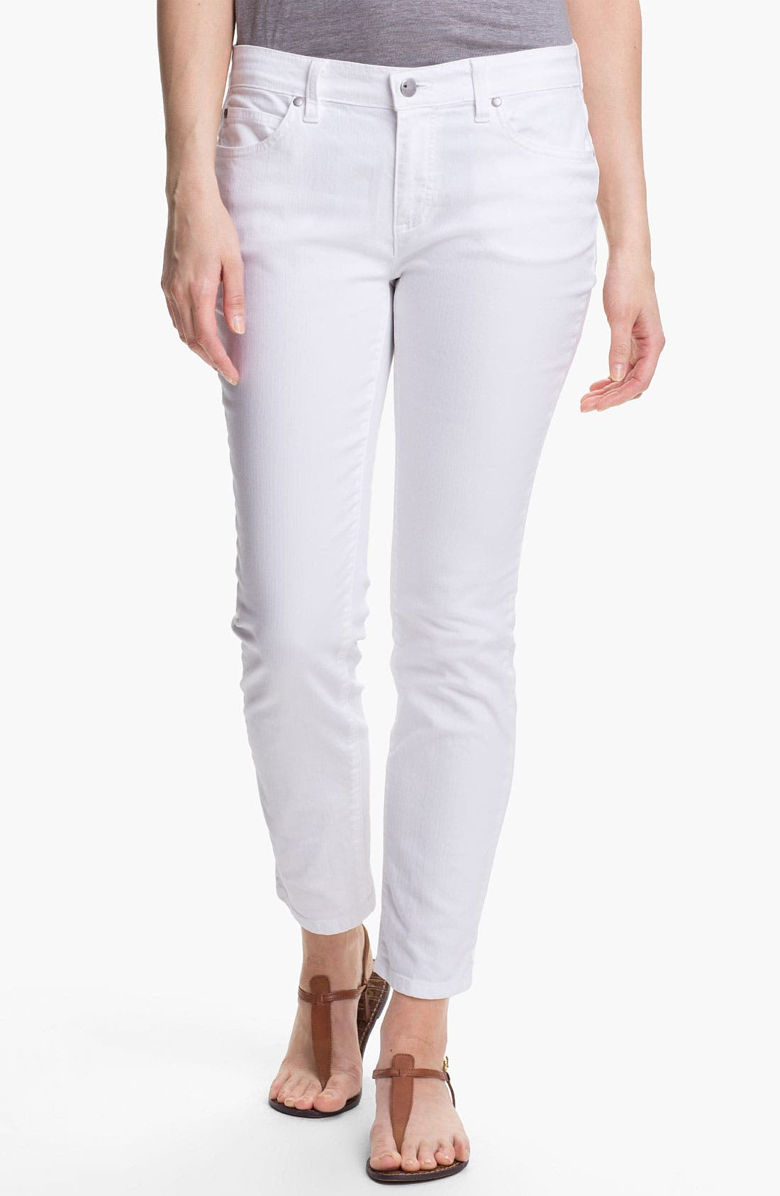 Alternate Image 1 Selected - Eileen Fisher Skinny Ankle Jeans (Petite)