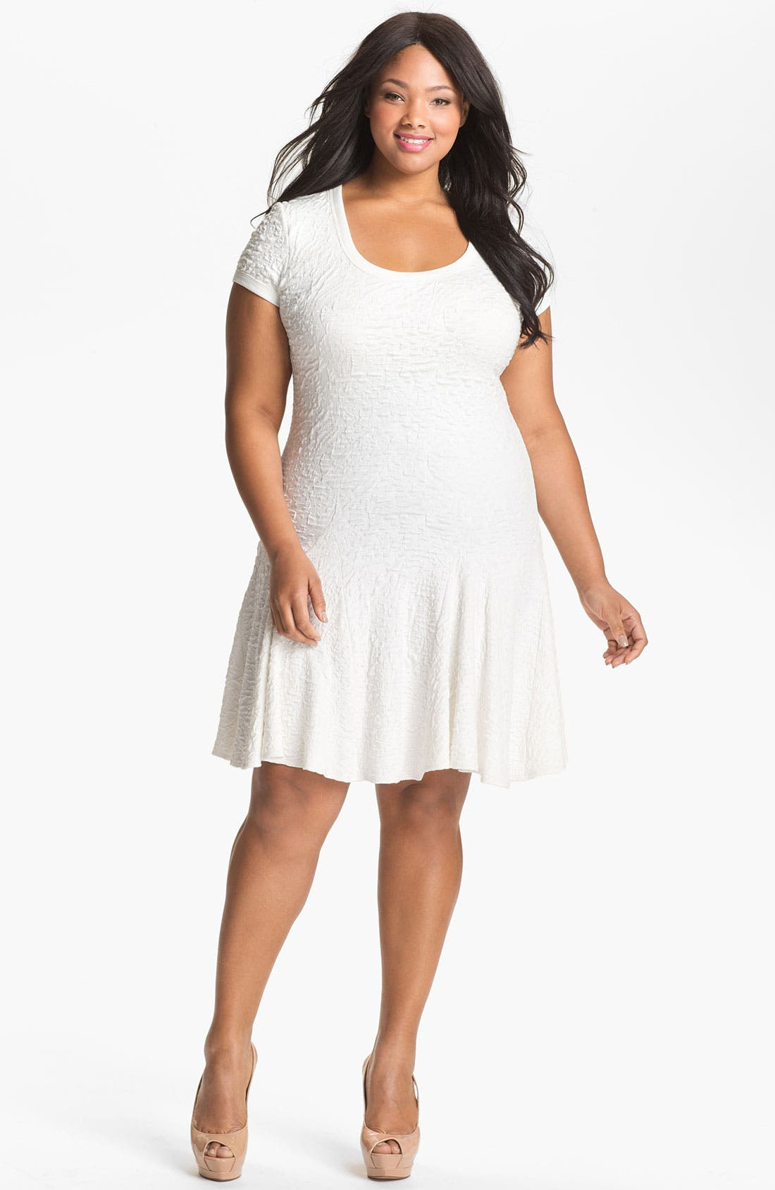Alternate Image 1 Selected - A.B.S. by Allen Schwartz Textured Drop Waist Dress (Plus Size) (Online Only)