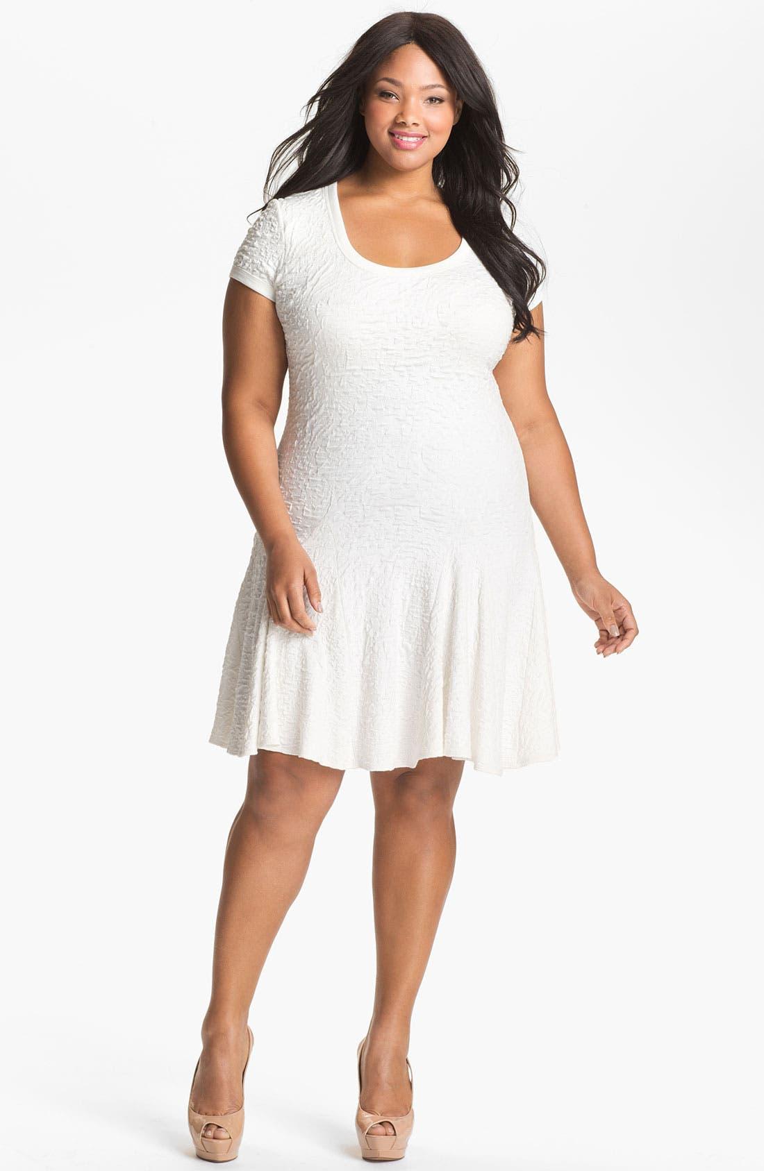 Main Image - A.B.S. by Allen Schwartz Textured Drop Waist Dress (Plus Size) (Online Only)