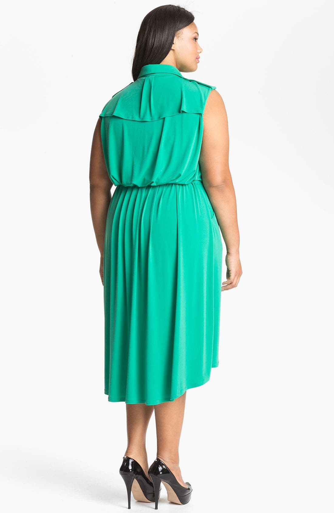 Alternate Image 2  - Vince Camuto Sleeveless Shirtdress (Plus Size) (Online Only)