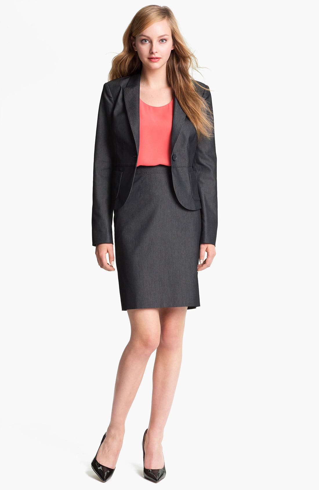 Alternate Image 1 Selected - Halogen® Black Denim Suit Skirt