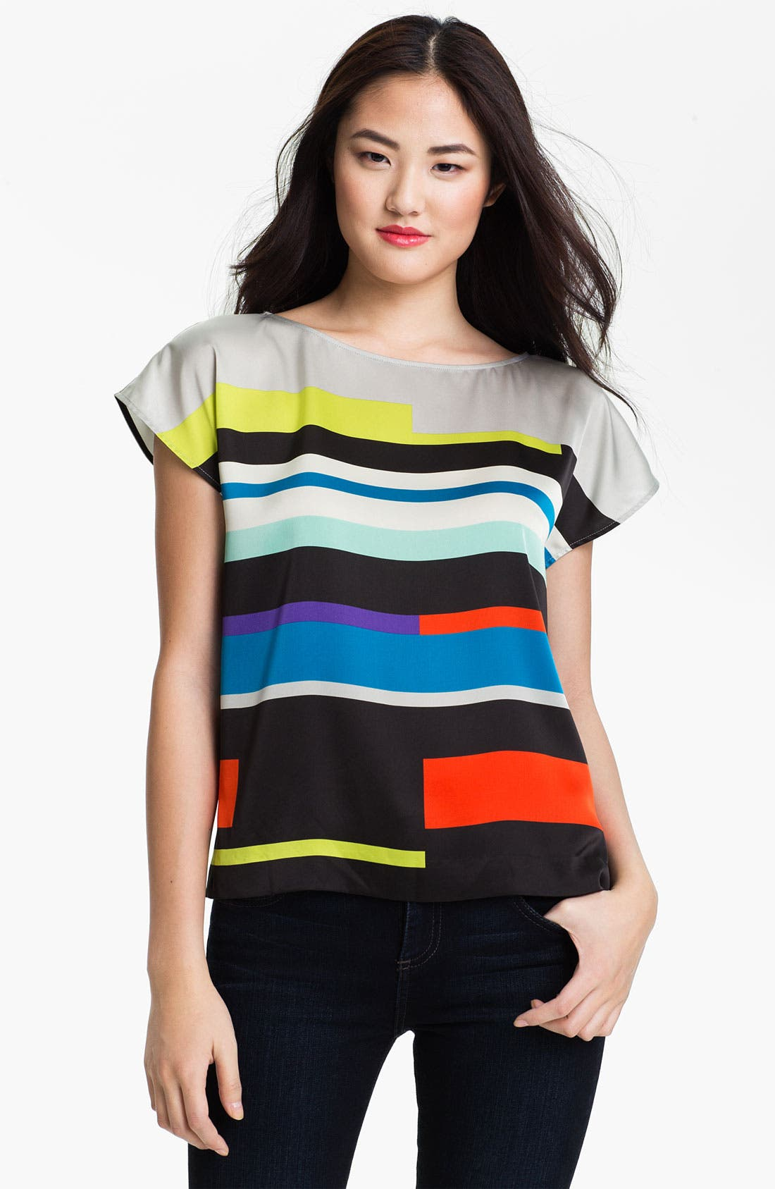 Alternate Image 1 Selected - Vince Camuto 'Graphic Lines' Blouse (Petite)