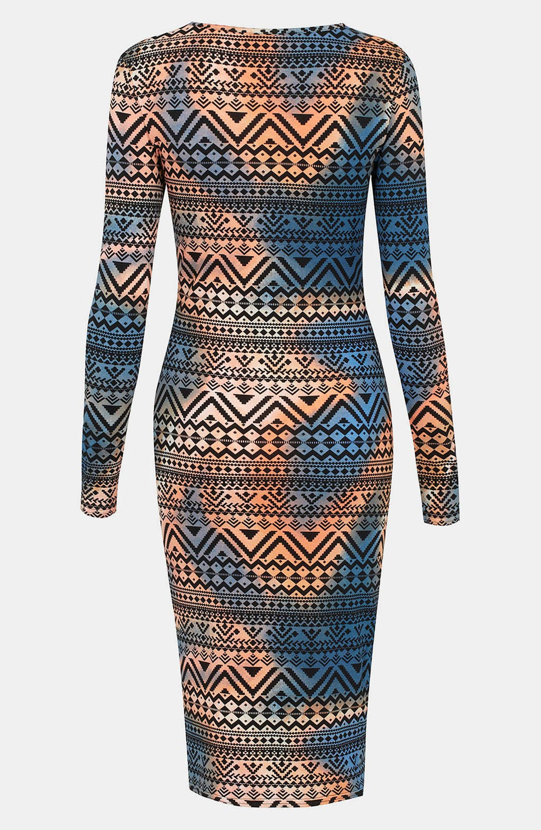 Alternate Image 2  - Topshop Tie Dyed Aztec Print Body-Con Dress