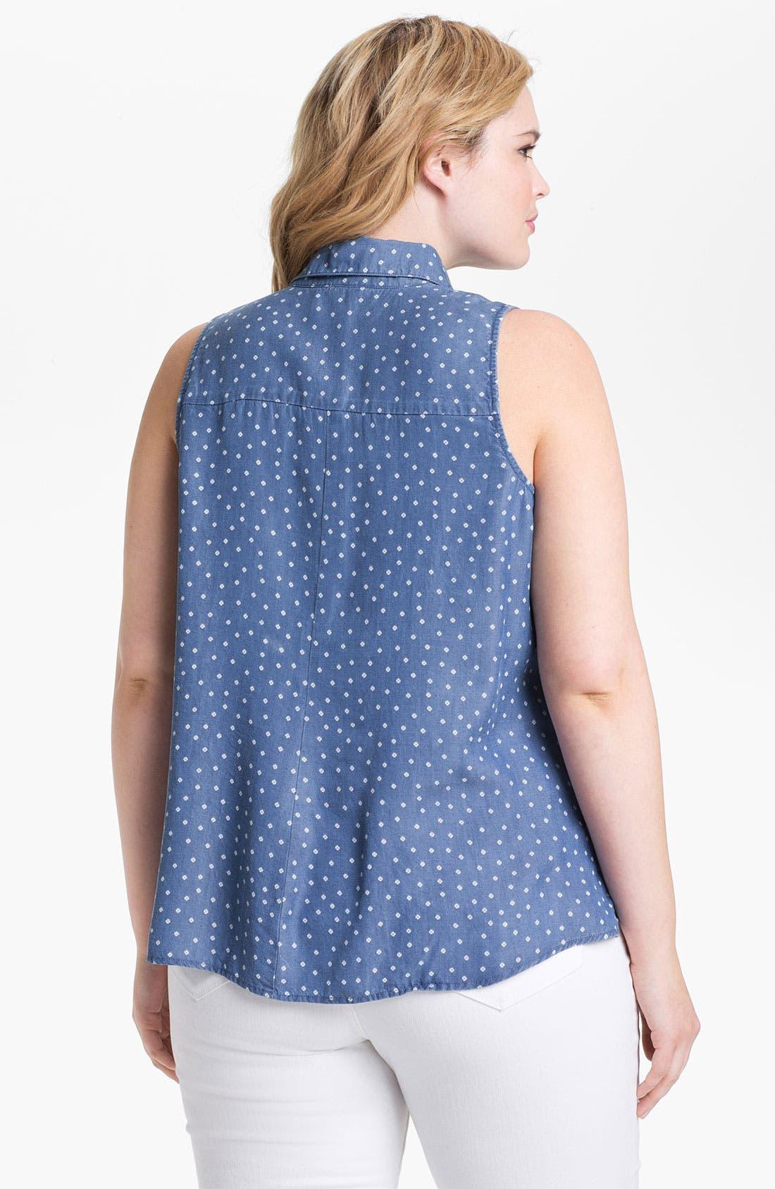 Alternate Image 2  - Splendid 'Ditzy' Polka Dot Chambray Shirt (Plus)