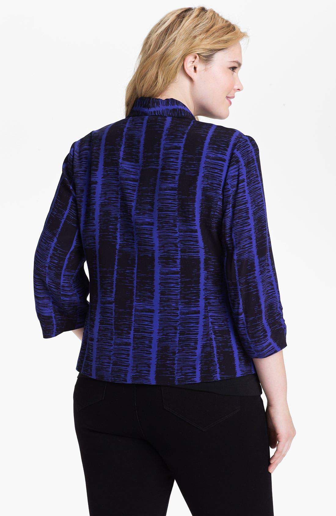 Alternate Image 2  - Sejour Print Tuxedo Jacket (Plus Size)