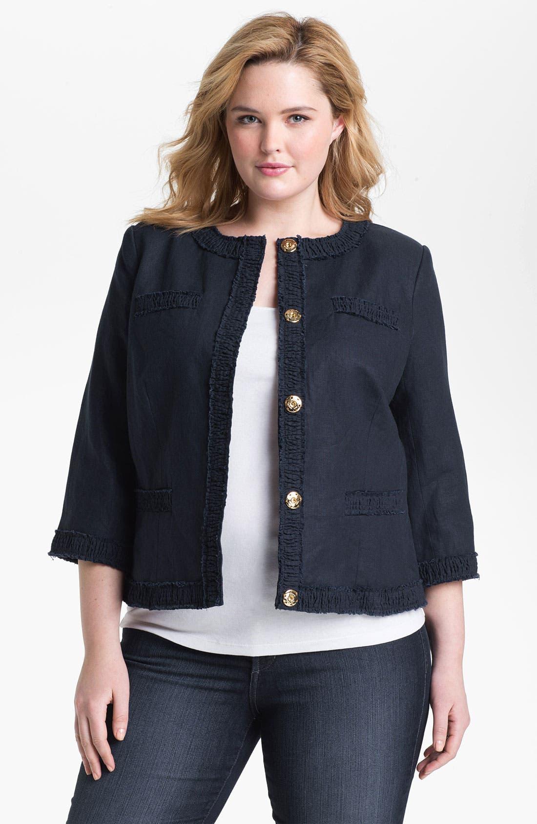 Alternate Image 1 Selected - MICHAEL Michael Kors Linen Jacket (Plus)