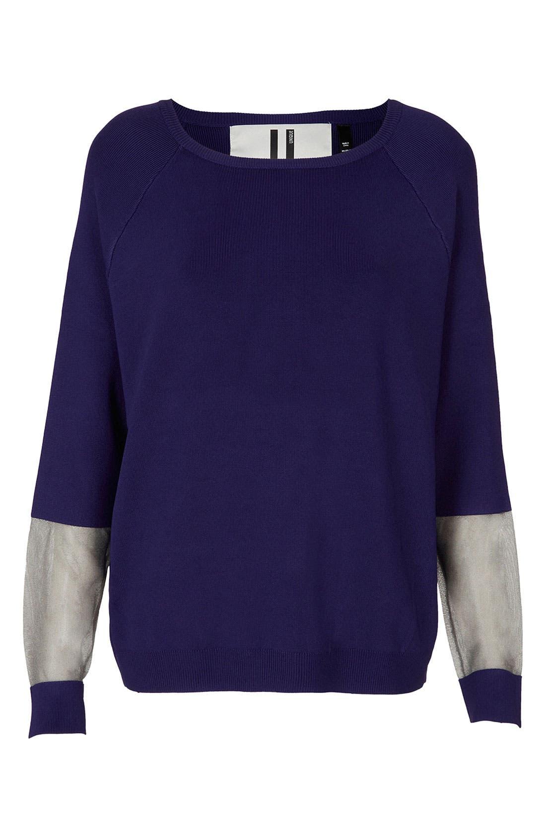 Main Image - Topshop Unique Sheer Panel Sweater