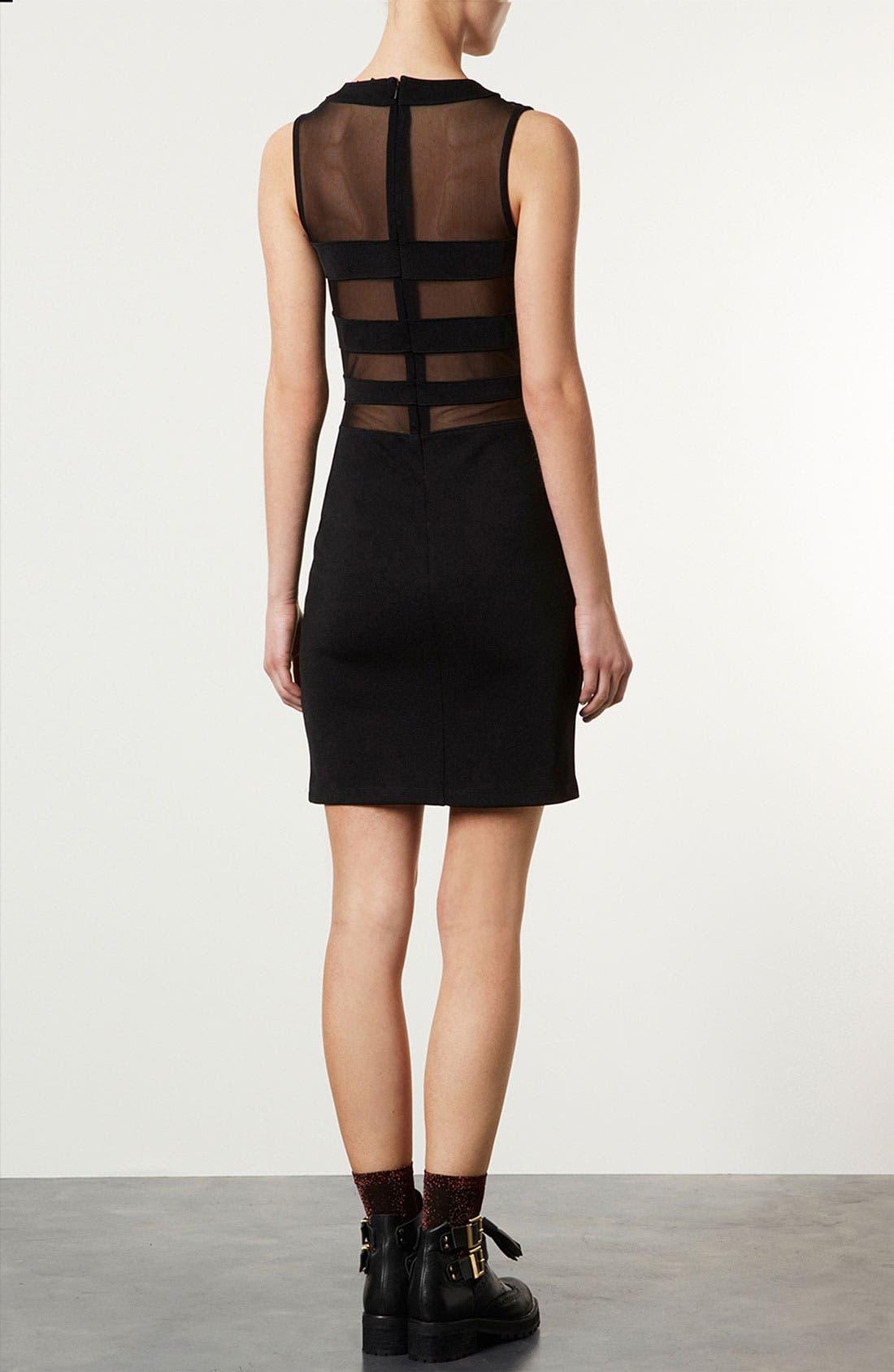 Alternate Image 2  - Topshop Mesh & Bandage Body-Con Dress