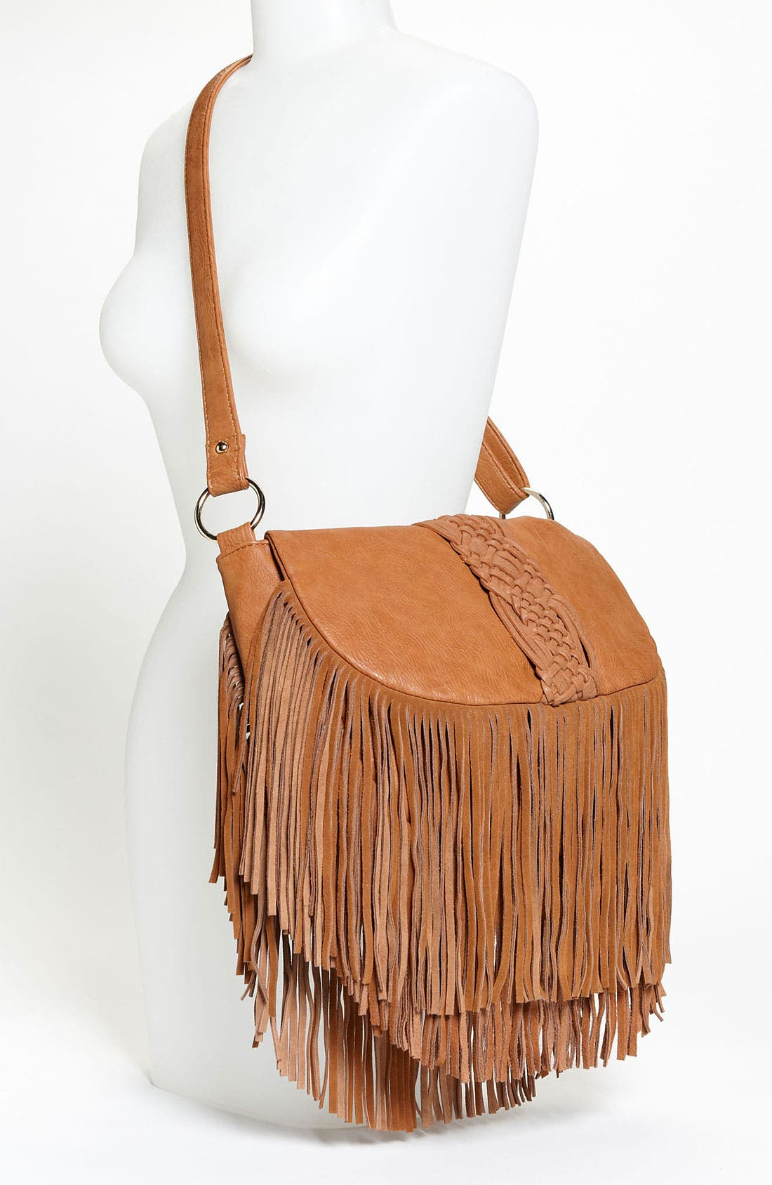 Alternate Image 2  - Street Level Woven Fringe Crossbody Bag