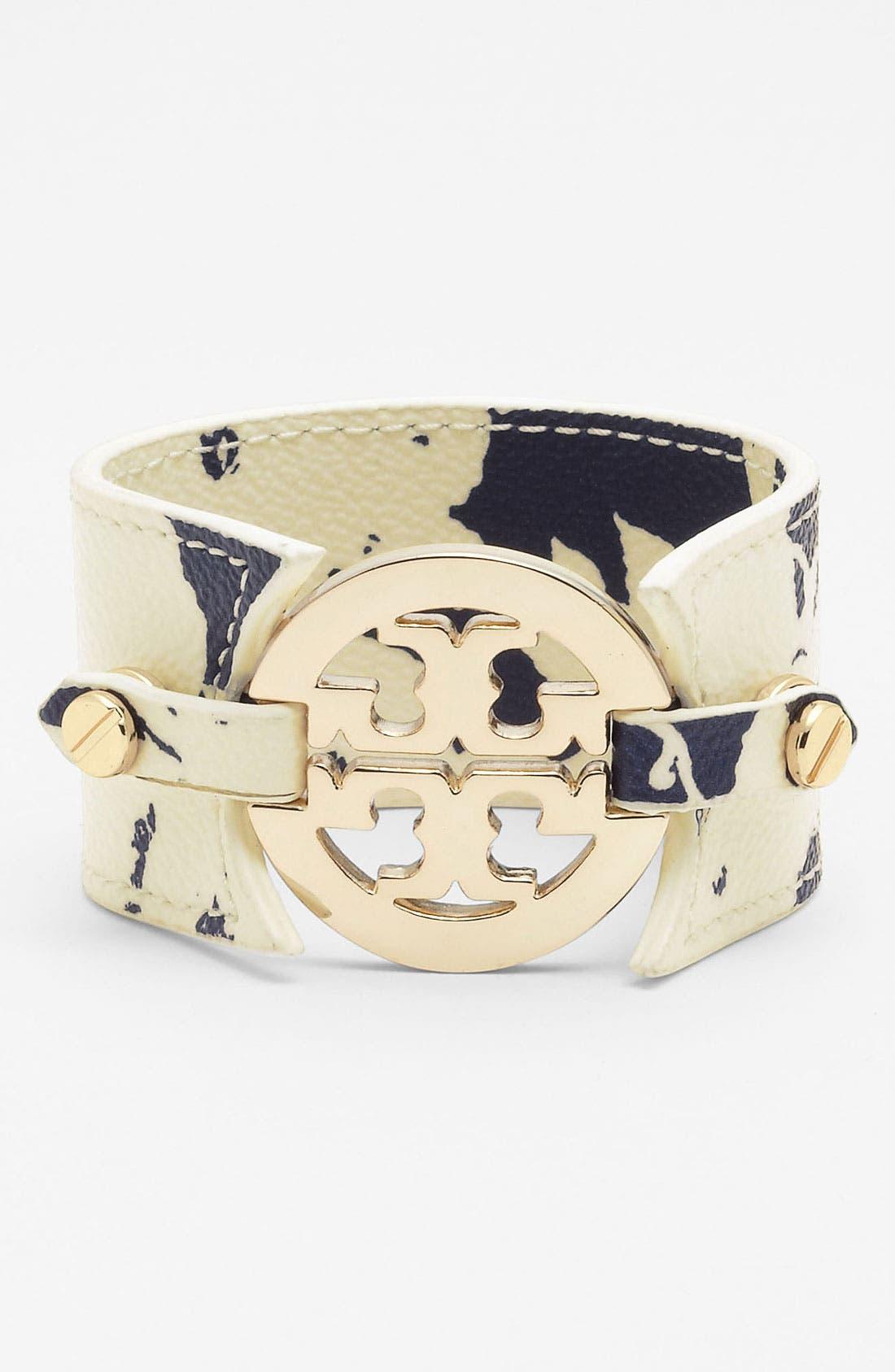Alternate Image 1 Selected - Tory Burch 'Large' Print Leather Bracelet