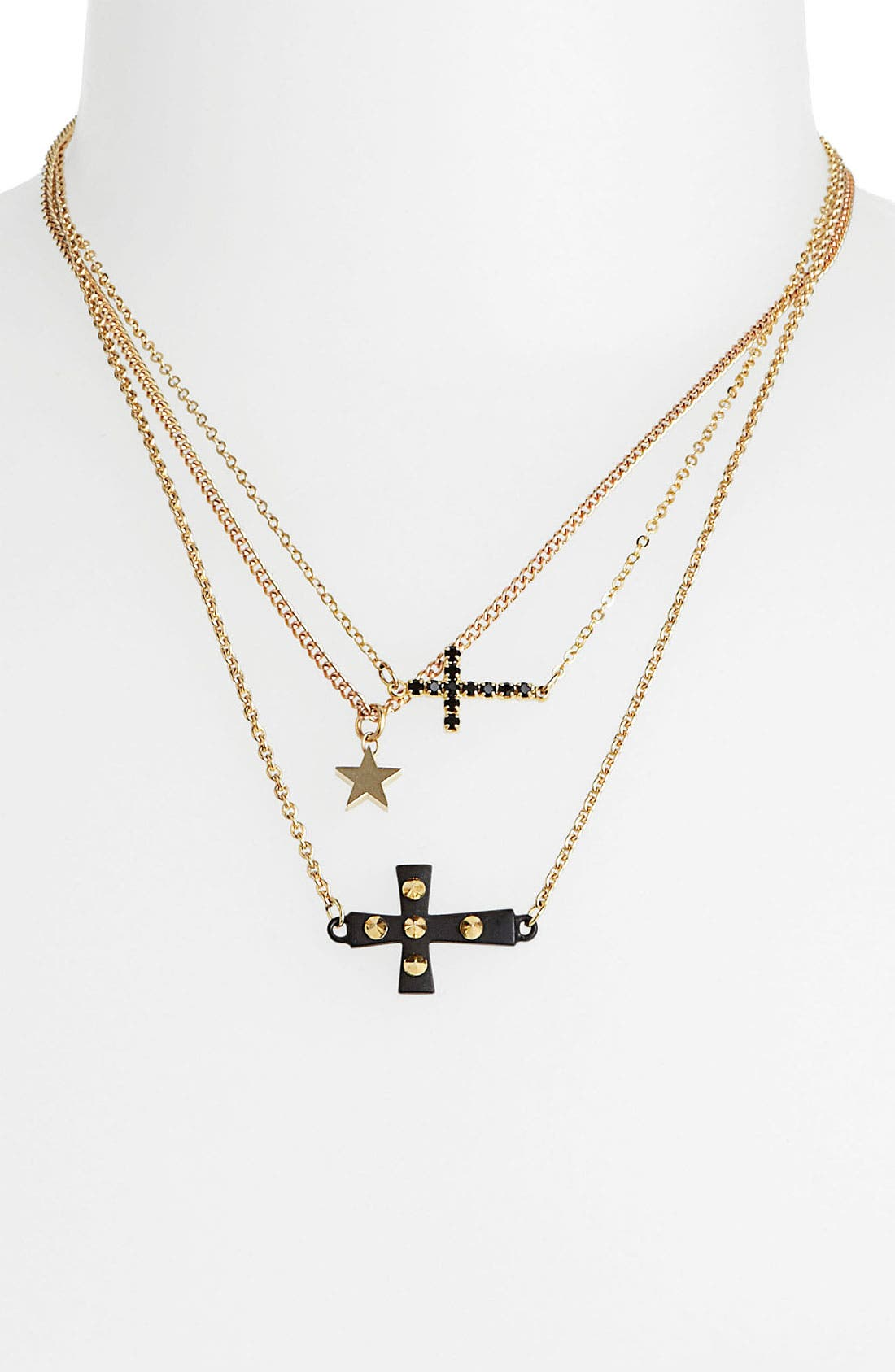 Alternate Image 1 Selected - BP. Cross & Star Charm Necklaces (3-Pack) (Juniors)