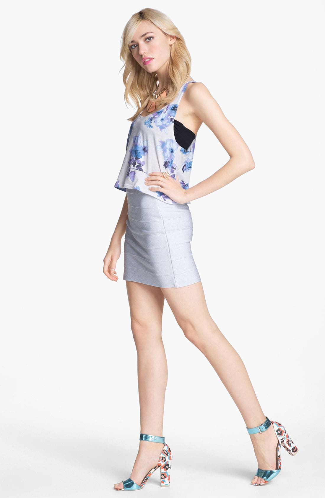 Alternate Image 2  - BB Dakota Metallic Bandage Miniskirt