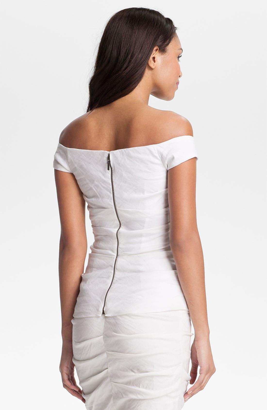 Alternate Image 2  - Nicole Miller Ruched Off Shoulder Shirt