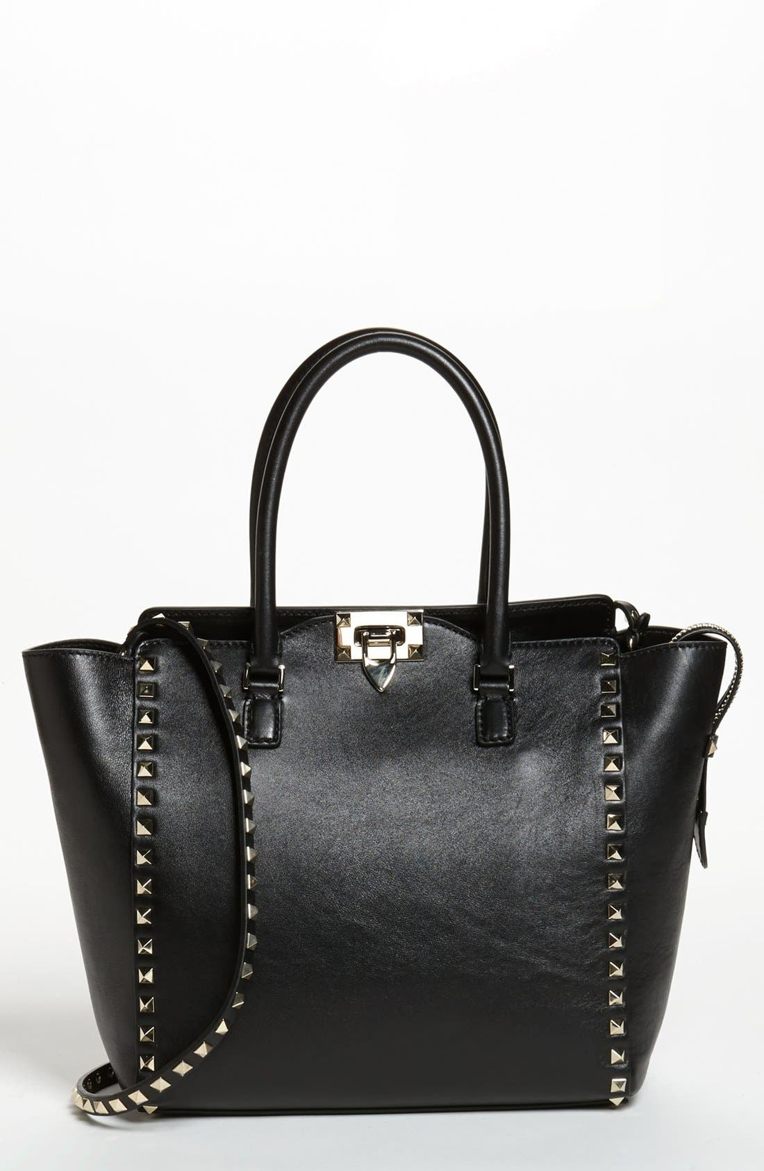 Alternate Image 1 Selected - Valentino 'Rockstud' Double Handle Leather Tote