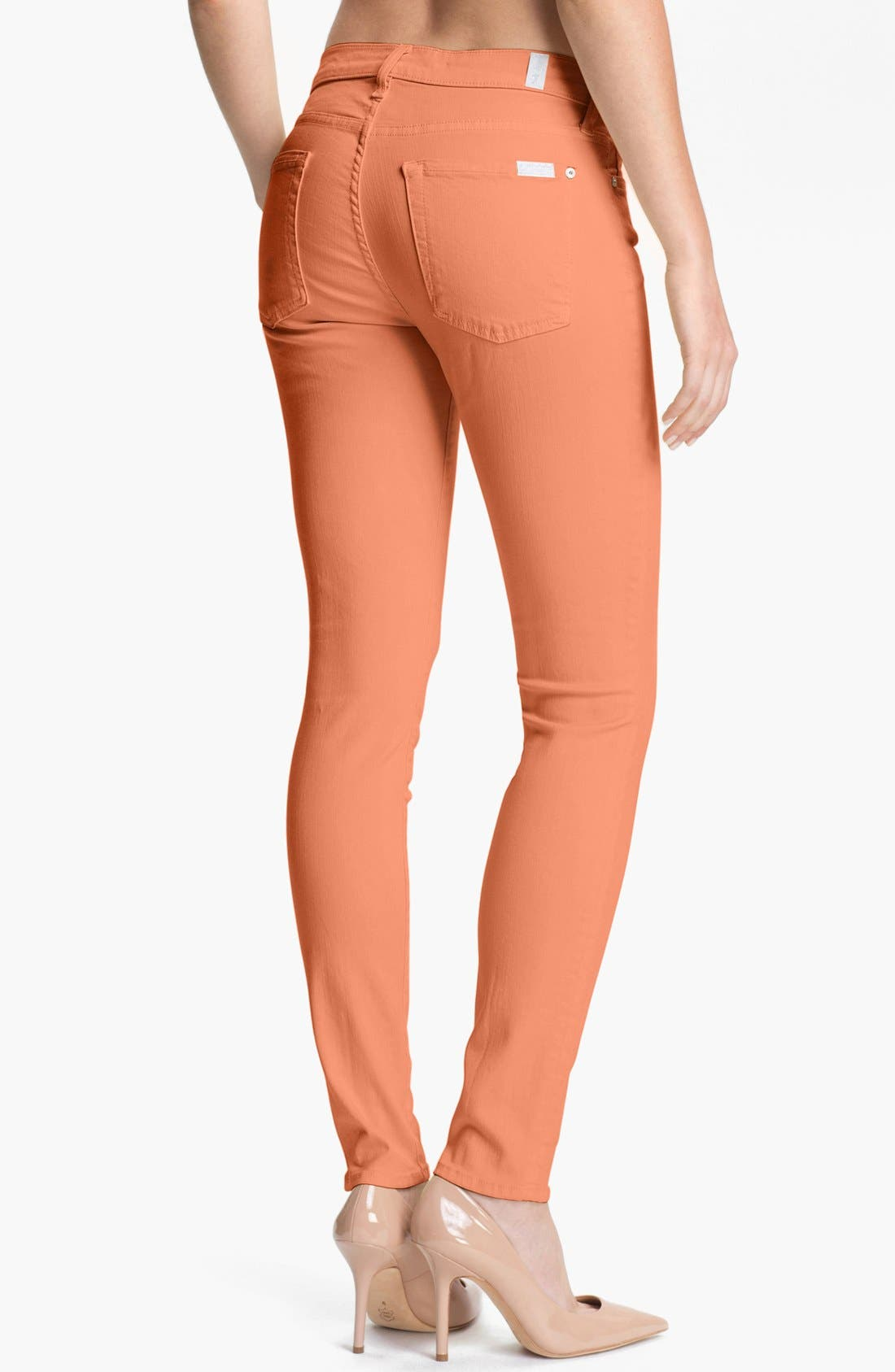 Alternate Image 2  - 7 For All Mankind® 'Slim Illusion' Skinny Stretch Jeans (Apricot)