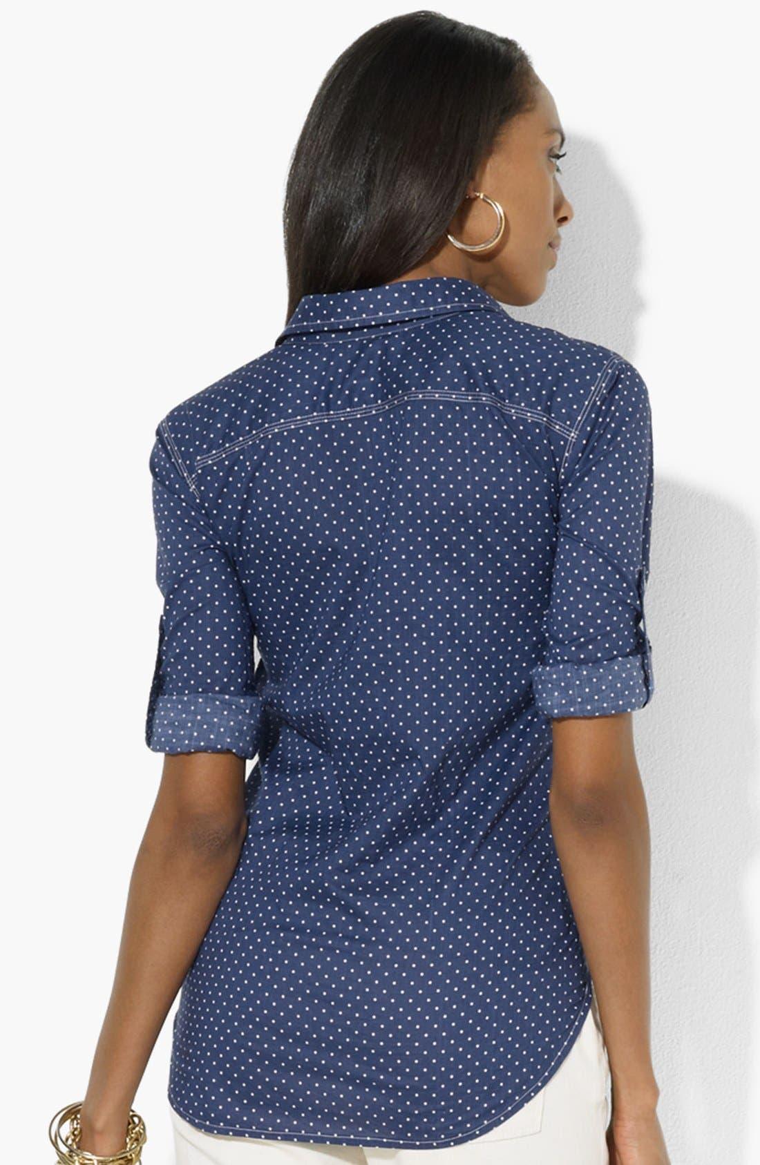 Alternate Image 2  - Lauren Ralph Lauren Dot Chambray Shirt